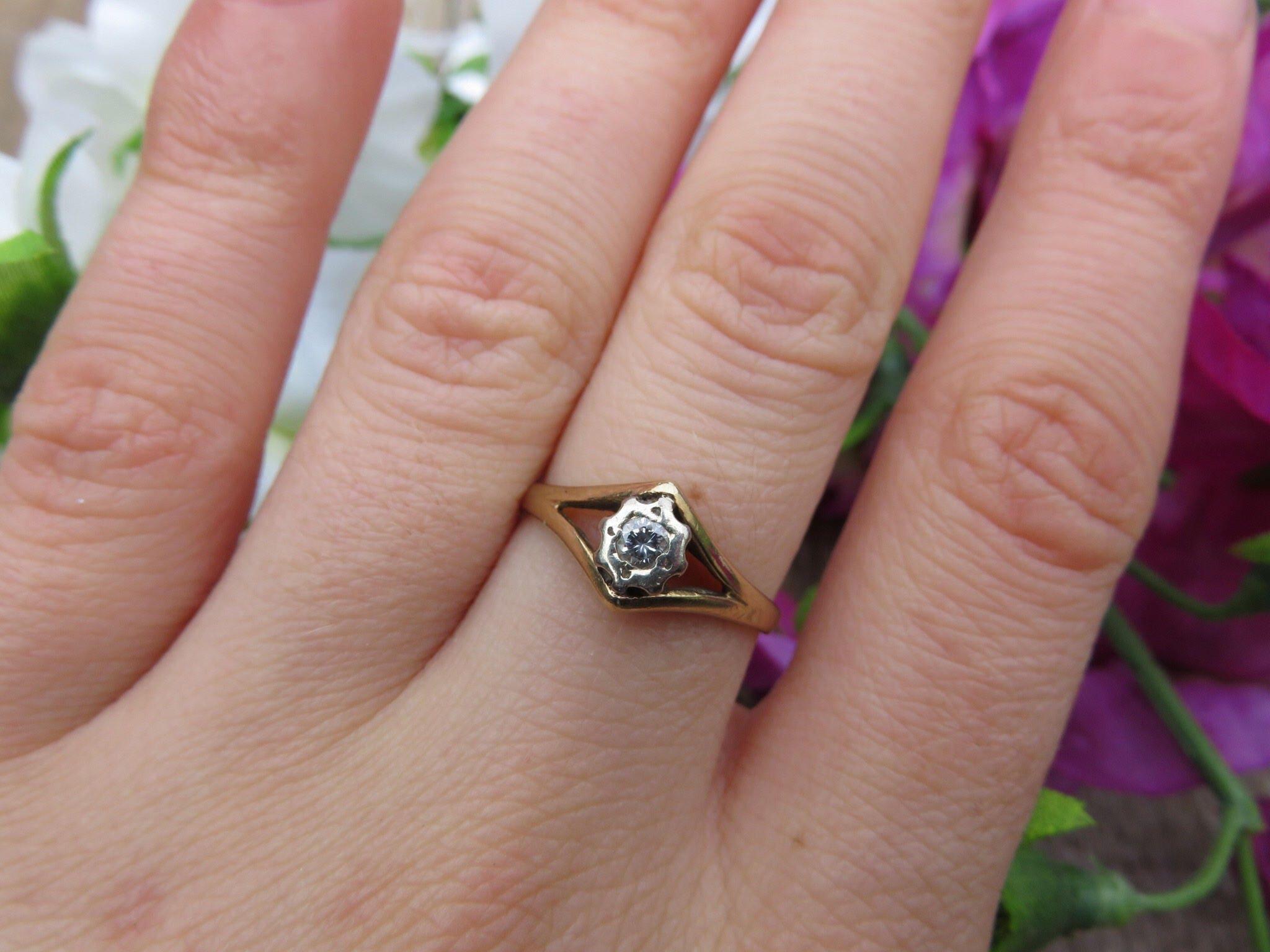 Vintage 9ct Gold Diamond Ring Size K Engagement Ring Art | Etsy