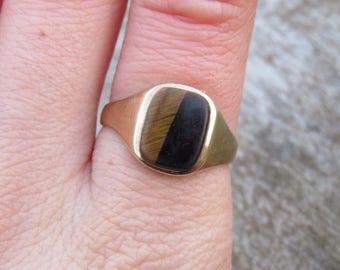 Vintage 9ct Gold Tigers Eye Signet Ring, Size M 1/2, Signet Ring, Statement Ring, Vintage, Antique, Tigers Eye, Vintage Signet Ring, Gold