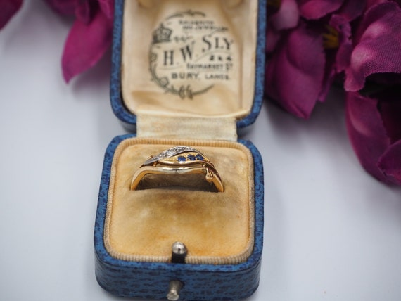 Antique 18ct Gold Sapphire and Diamond Ring, Size… - image 3