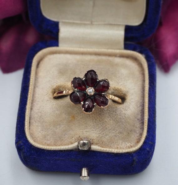 Antique 9ct Gold Garnet and Diamond Flower Ring, S