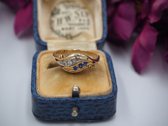 Antique 18ct Gold Sapphire and Diamond Ring, Size… - image 5