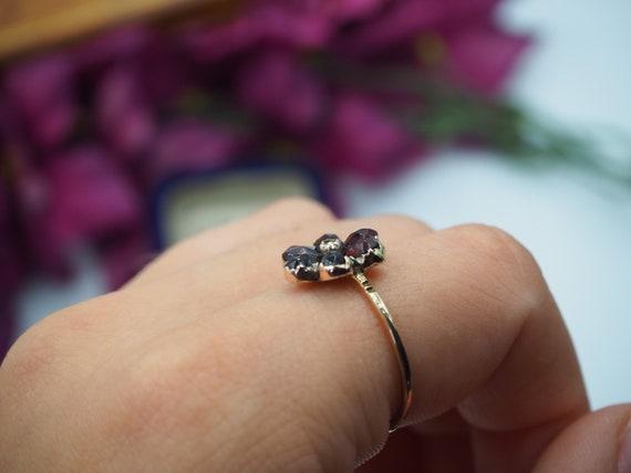 Antique 9ct Gold Garnet and Diamond Flower Ring, … - image 10
