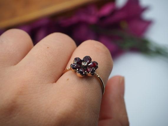 Antique 9ct Gold Garnet and Diamond Flower Ring, … - image 9