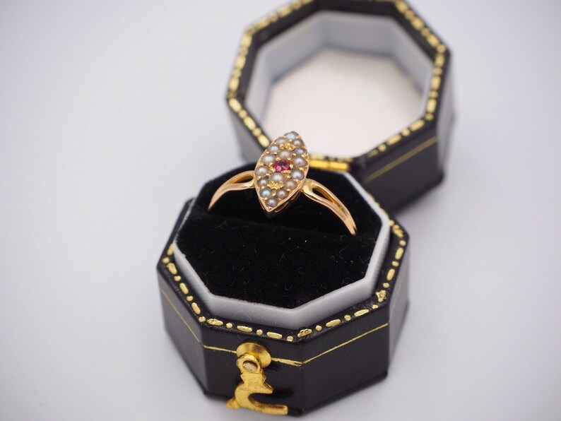 Antique 18ct Yellow Gold Ruby and Seed Pearl Marquise Ring Engagement Ring Antique Seed Pearl Ruby Ruby and Seed Pea Size N 12 or 7.25