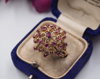 Vintage 9ct Gold Ruby Princess Dome Ring, Size M or 6.5, Vintage Engagement ring, Vintage Ruby Ring, Ruby Dome Ring, Ruby Princess Ring,