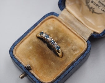 Vintage 9ct Gold Topaz and Diamond Half Eternity Ring, Size M or 6.5, Vintage Engagement Ring, Vintage Diamond Ring, Eternity Ring, Band