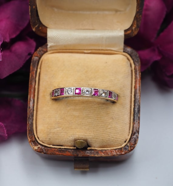 Vintage 9ct Gold Ruby and Spinel Eternity Ring, Si