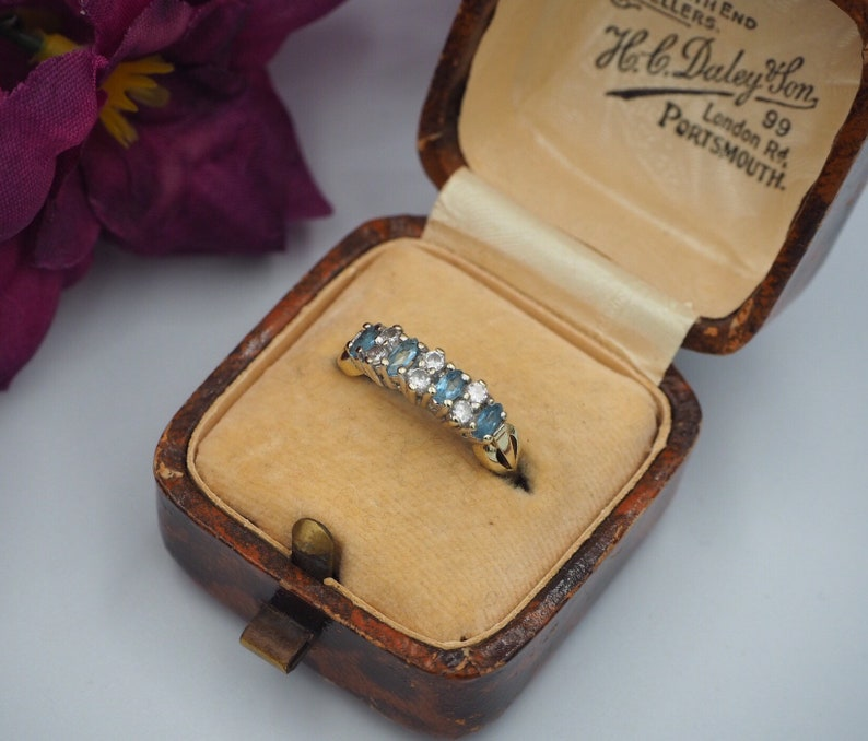 88c20f536164c Vintage 9ct Gold Topaz and Cubic Zirconia Ring, Size L or 5 1/2, Statement  Ring, Vintage, Antique, Engagement Ring, Topaz, Cubic Zirconia