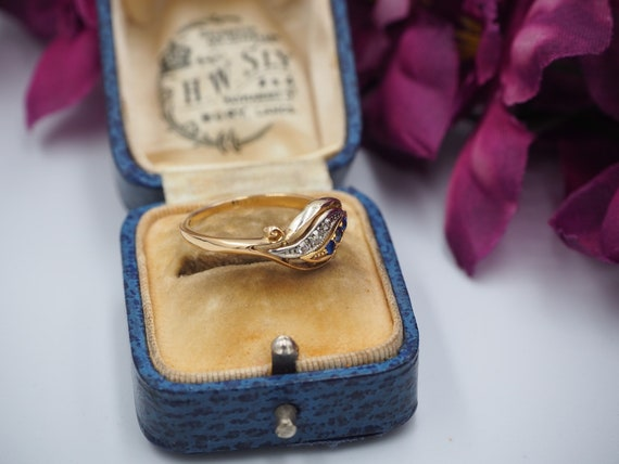 Antique 18ct Gold Sapphire and Diamond Ring, Size… - image 6