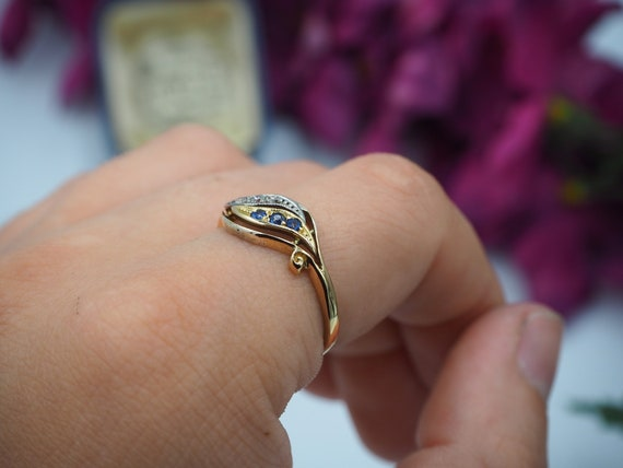 Antique 18ct Gold Sapphire and Diamond Ring, Size… - image 8