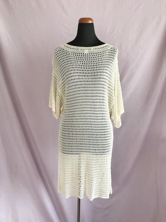 Ivory Crochet Dress, Boho Dress, Cream Crochet Kni