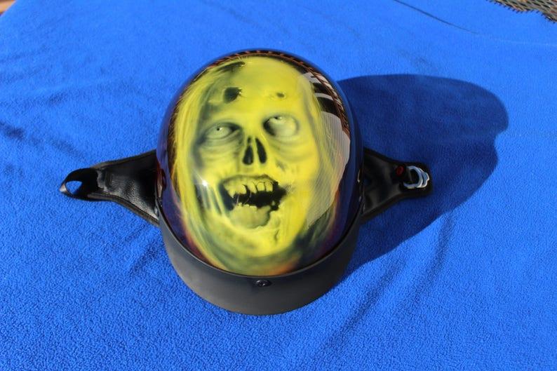 Zombie Themed Custom Airbrush Painted Motorcycle Half Helmet