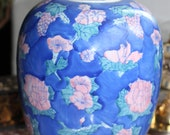 Vintage LidDist Candy Store Large Can Amphora Blue Porcelain Fayence China