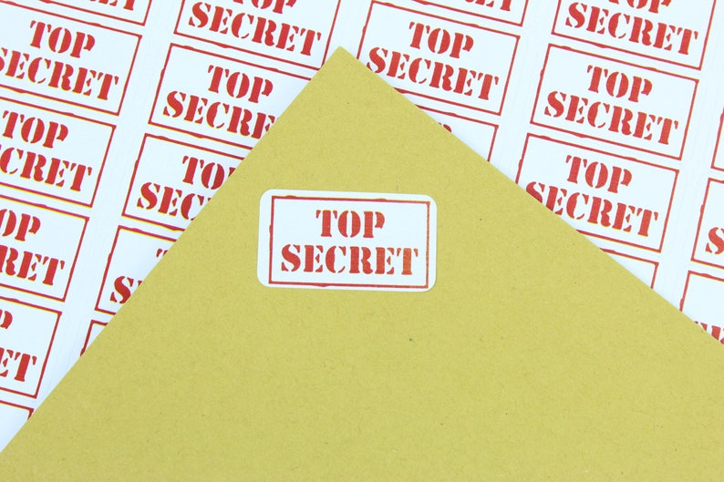 Top Secret labels  stickers simply peel and apply. 65 labels per sheet Ideal for a variety of uses No messy rubber stamp