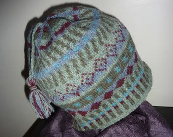 Fair Isle hat  hand knitted.  Wool .  soft green / grey tones