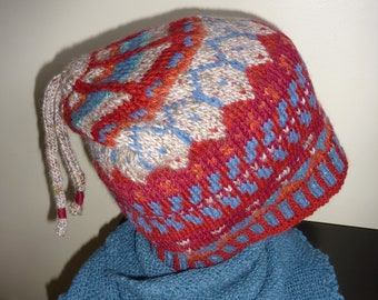 Fair Isle hat, hand knitted. wool, double knitted.