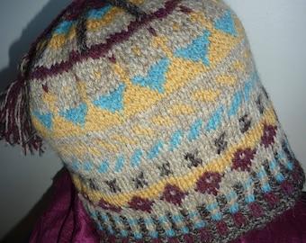 Fair Isle hat, hand knitted.   wool natural shades.