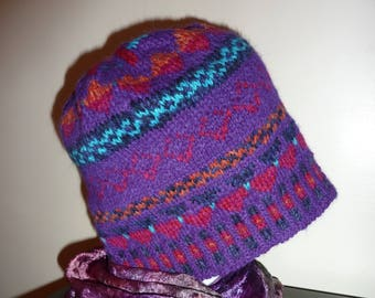 Fair Isle hat, hand knitted.materials include Alpaca, wool and other yarn.