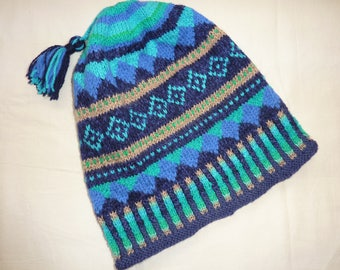 Fair Isle hat, hand knitted, wool and mixed yard.