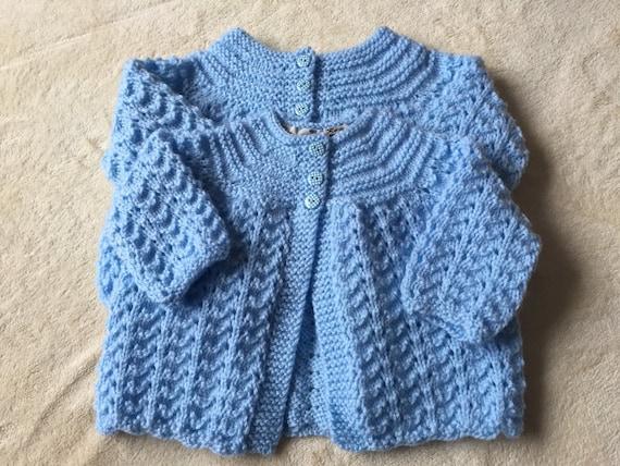 d82cb06f4 Handknit Baby cardigan blue baby jacket hand knit baby