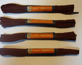 SET OF 4 PAIRS OF SHOELACES TUBULAR LENGTH 95 CM