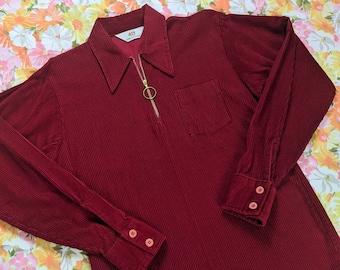 1980s Red Corduroy Shirt  men/'s large
