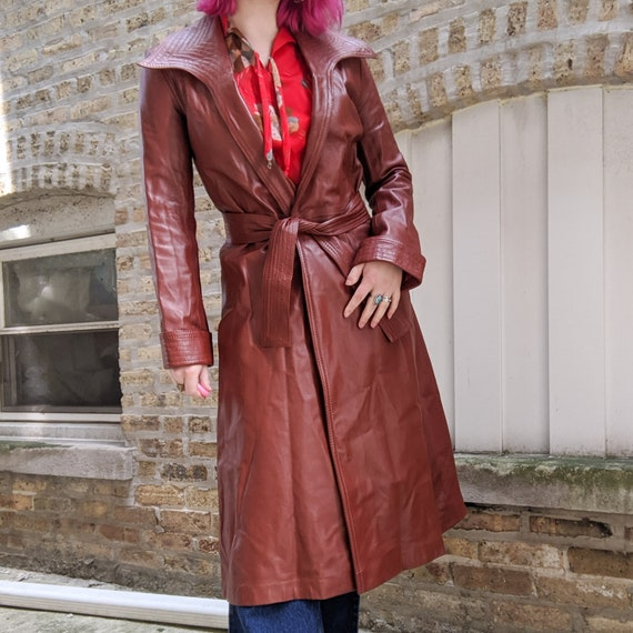 VTG 70s Brown Leather Long Trench Coat - image 3