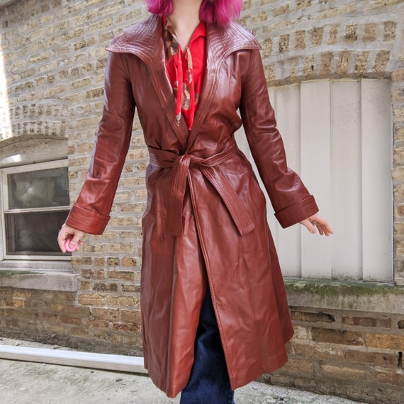 VTG 70s Brown Leather Long Trench Coat - image 1