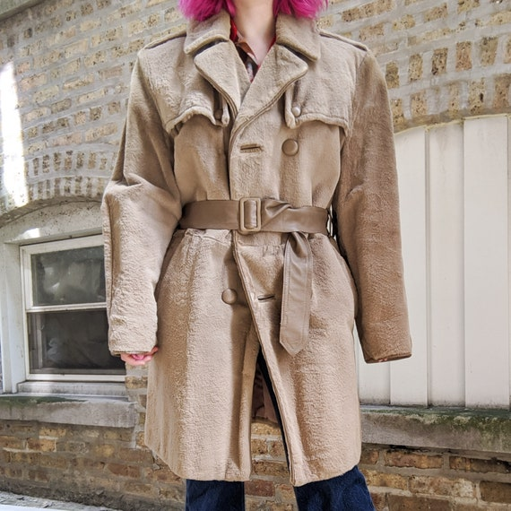 Vintage 70s Beige/Cream Fur and Leather Trench Coa