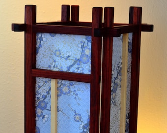 Padauk and Holly wood Shoji Lamp with Blue Plum Branch Chiyogami Paper