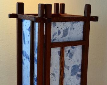 Leopardwood and Bacote Wood Shoji Lamp with Mango Blue Bark Kozo Paper