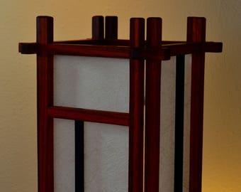 Padauk and Ebony Wood Shoji Lamp with Kinwashi Cream Kozo Paper