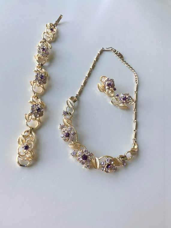 Coro Necklace Earrings Rhinestone Vintage Purple Stones Brass Setting Free Ship