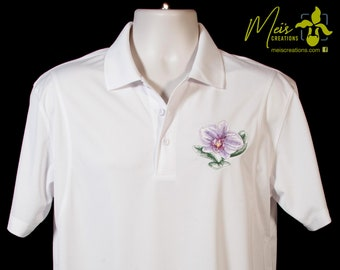Men's Phaleonopsis Orchid Embroidered Polo Shirt