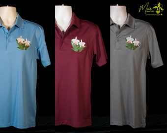 Men's Cattleya Orchid Embroidered Polo Shirt