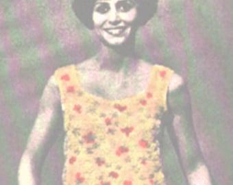 Crochet Lazy Daisy Shell Pattern, Crochet Misses Tank Top Pattern, Crochet Vintage Pattern, PDF Downloadable Pattern, Crochet Pattern