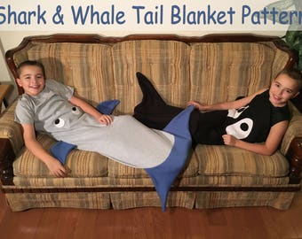 Shark Tail Blanket And Orca Whale Tail Blanket PDF Sewing Pattern