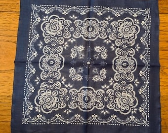 Face Covering Set of TWO Blue Bandanas, Face Shield, Hair Scarf, Neck Kerchief, Free Shipping