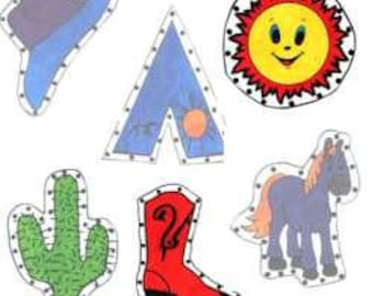 Cowboy E-Z Sew Sewing Cards, PDF downloadable full size patterns
