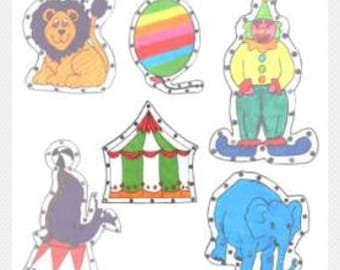 Circus E-Z Sew Sewing Cards, PDF downloadable full size patterns