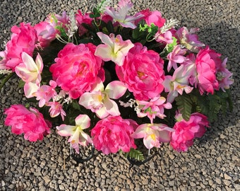 Beautiful Pink Cemetery Saddle / Spring  Pink Headstone Flowers / Easter Flowers / Cemetery Flowers / Grave Decoration