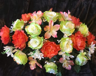 Cemetery Flowers ~Green and Peach ~ Dad's Day Flowers ~ Decoration Flowers for grave