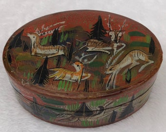 Old Hand-Painted Indian Papier Mache Trinket Box