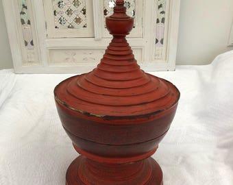 Large Old Indian Kashmiri Papier Mache Lidded Pot 19th Century