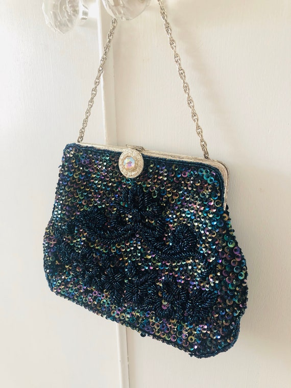 Art Deco Purse 1930s EVENING BAG Blue Aurora Borealis Beaded Purse Vintage Flapper Bag Wedding Bridesmaid Bridal Gift Jazz Era