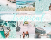 6 MOBILE Lightroom Presets TROPICAL BLUES, Lightroom Desktop Presets, Bright Photo Filter for Instagram