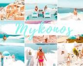6 MOBILE Lightroom Presets MYKONOS, Lightroom Desktop Presets, Bright Photo Filter for Instagram