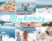 6 MOBILE Lightroom Presets MYKONOS, Lightroom Desktop Presets, Bright Photo Filter for Instagram