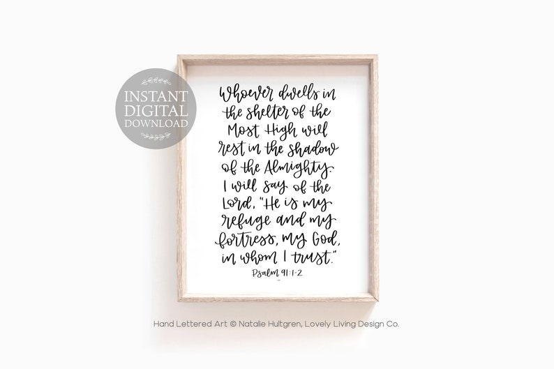 image relating to Psalm 91 Printable known as Psalm 91 Bible Verse Printable, Hand Lettered Scripture Print, Calligraphy Psalms Wall Artwork, Christian Residence Decor, Fast Electronic Obtain