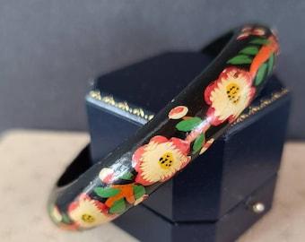 Boho Handpainted Floral Wooden Bangle Bracelet